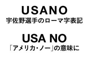写真=宇佐野選手のローマ字表記