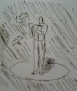 写真=鳩を出すマジシャンを描いている