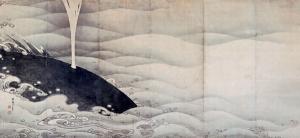 写真=鯨(伊藤若冲『象鯨図屏風』より)